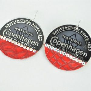 Copenhagen Can Tooled Leather Earrings 2.25""